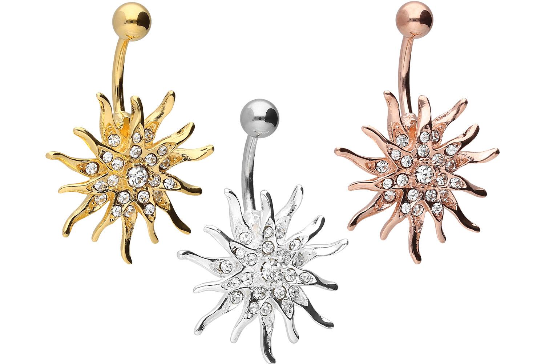 Bauchnabelpiercing Chirurgenstahl Bananabell mit Brass-Design SONNE Kristall