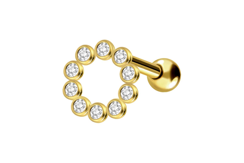 18 Carat Gold Ear Piercing Crystal Ring